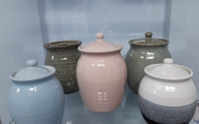 Locally made pottery urns